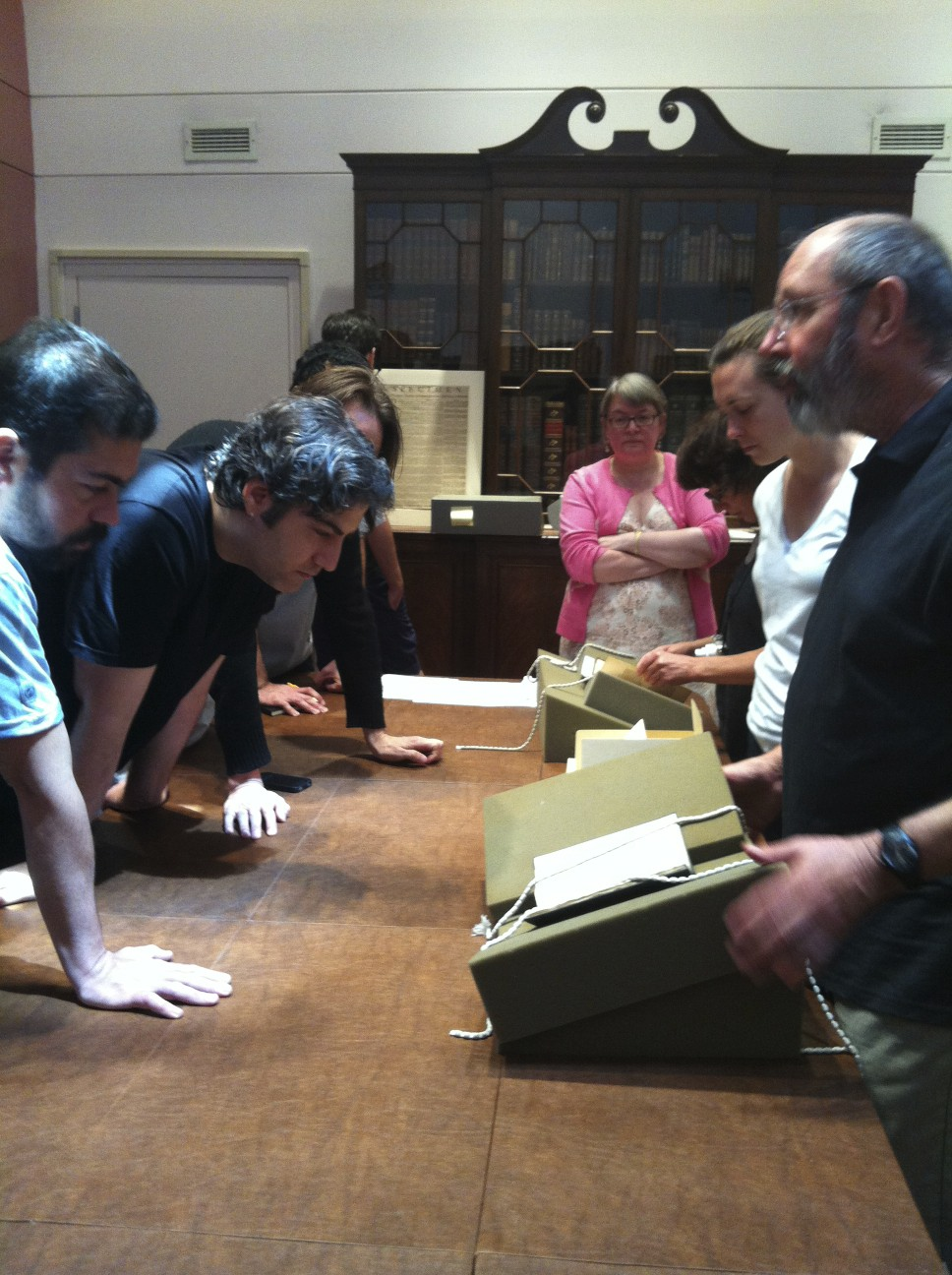 Class visit to the Butler Library's rare book collection in Columbia University