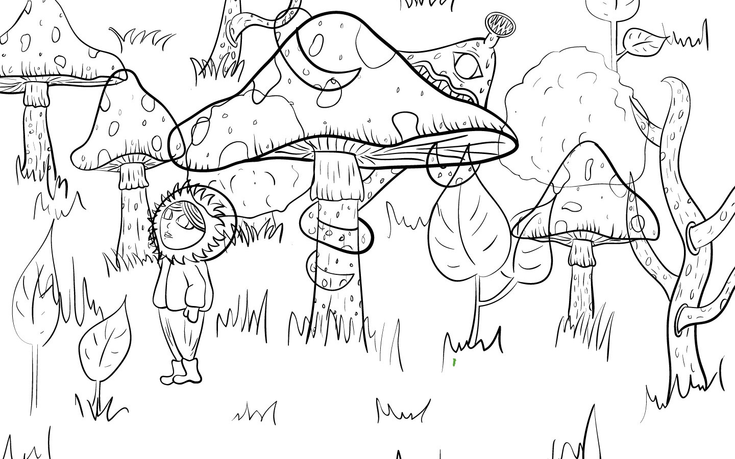 Creepy forest illustration - Outlines