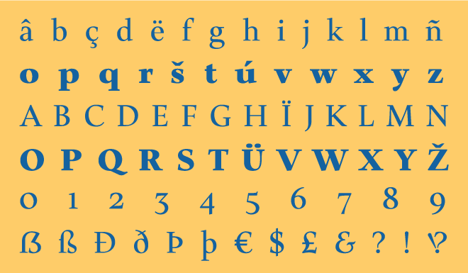 Nobilis Typeface - Character Set