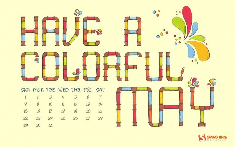 A Colorful May Desktop Calendar