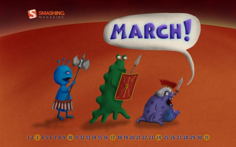 Marching Martians Desktop Calendar
