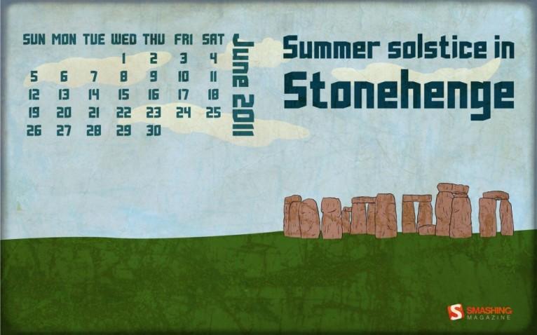 Summer Solstice in Stonehenge Desktop Calendar